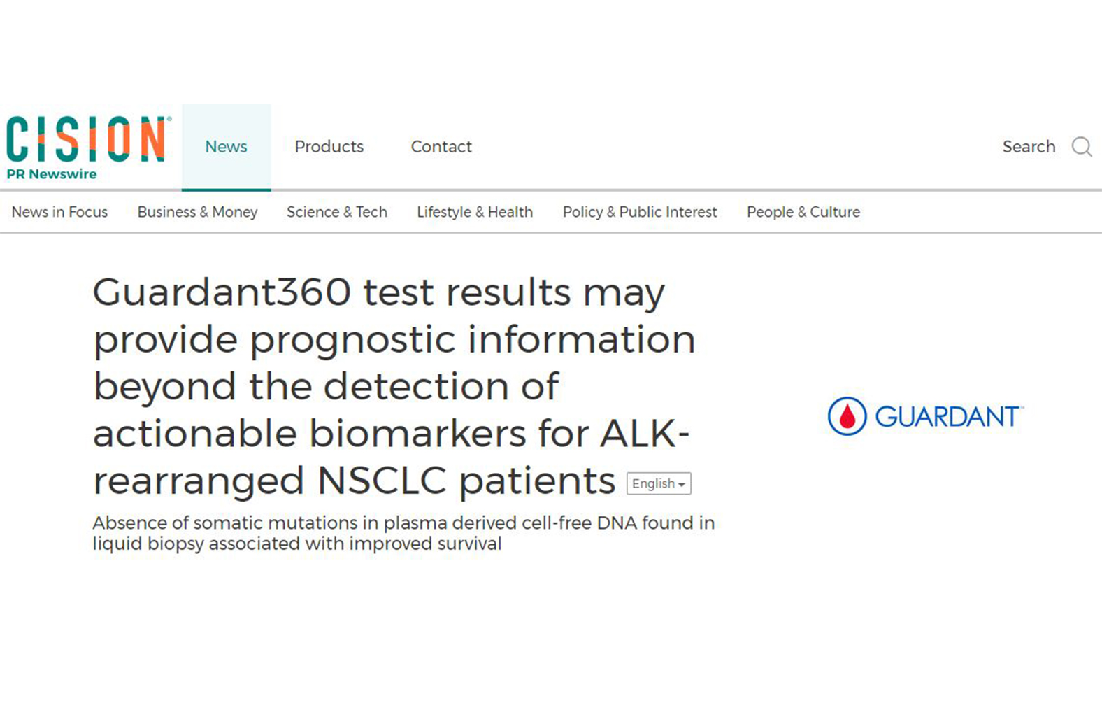 Guardant360 test results may provide prognostic information beyond the detection of actionable biomarkers for ALK-rearranged NSCLC patients