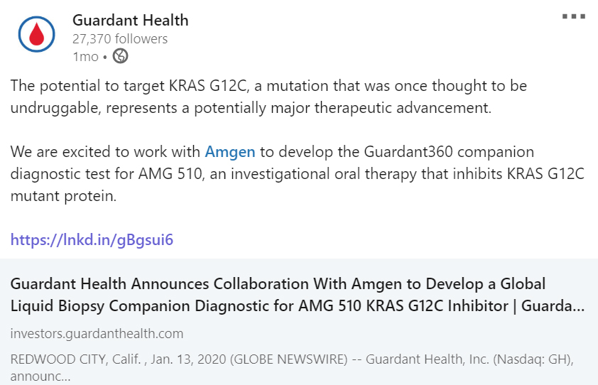 Guardant Health, Inc collaborates with Amgen