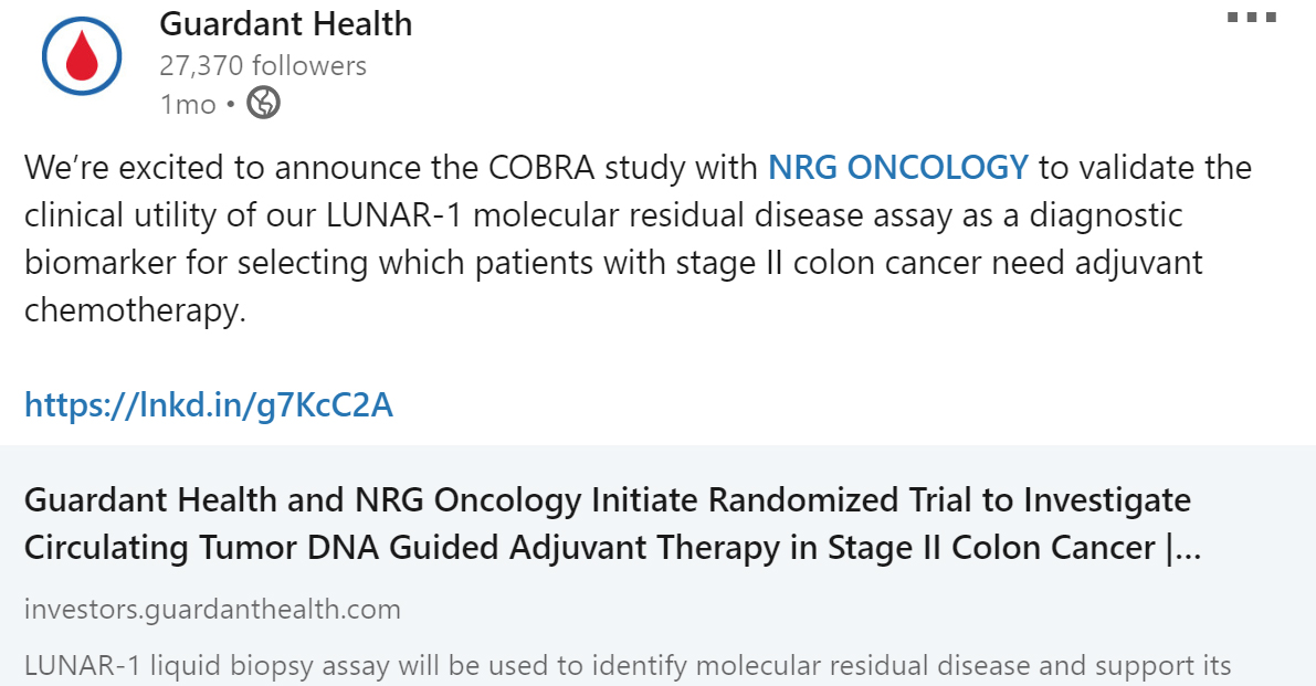 Guardant Health, Inc. and NRG Oncology jointly initiate the NRG-GI005 study