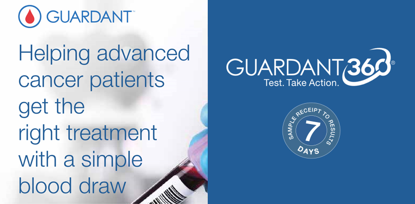 Order the Guardant360® test online today & get your results in approximately 7 days upon sample receipt in the laboratory.