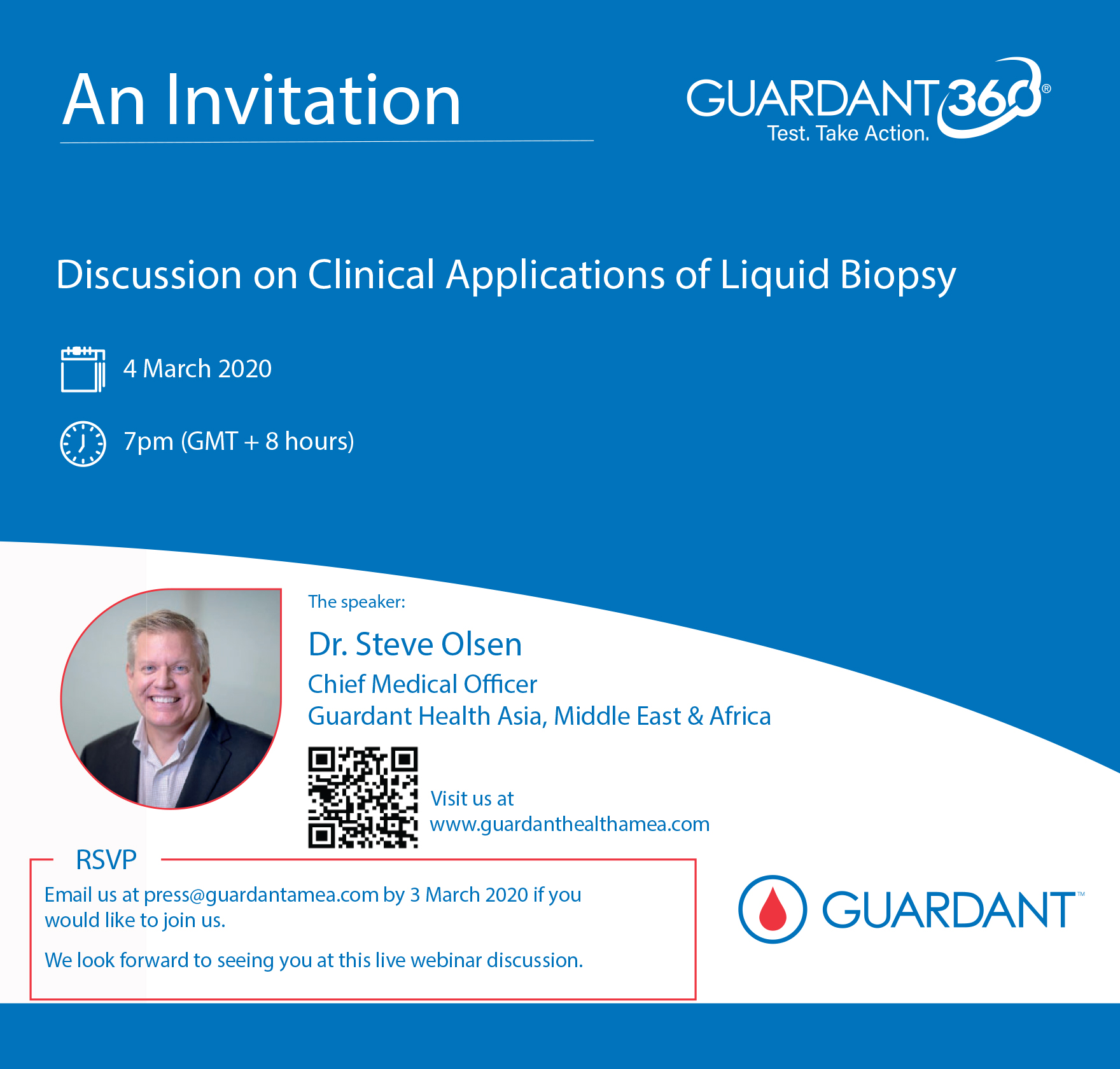 Join us on 4 March 2020 for a zoom webinar discussion with Dr Steve Olsen on clinical applications of liquid biopsy.