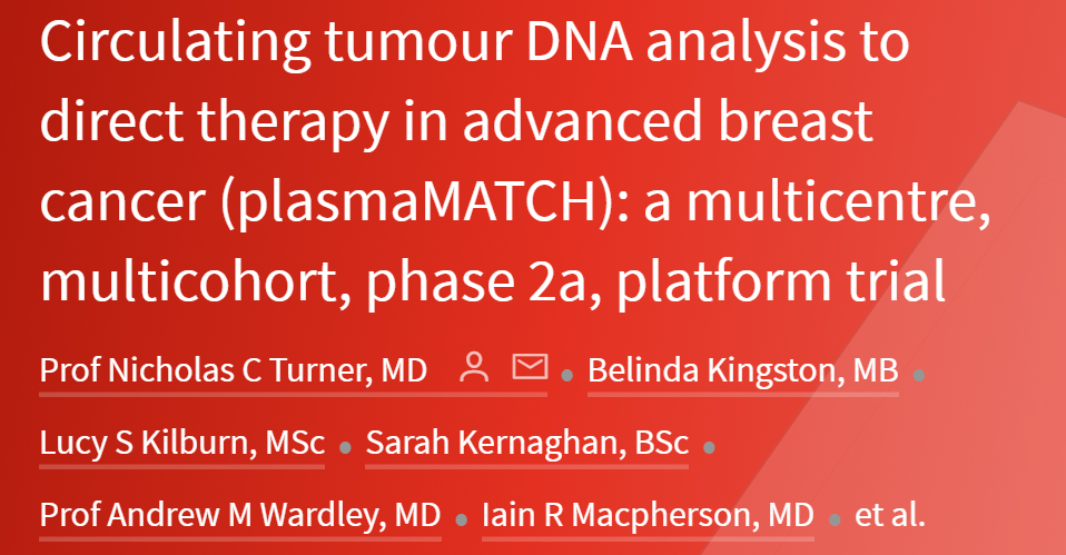 Circulating tumour DNA analysis to direct therapy in advanced breast cancer (plasmaMATCH): a multicentre, multicohort, phase 2a, platform trial