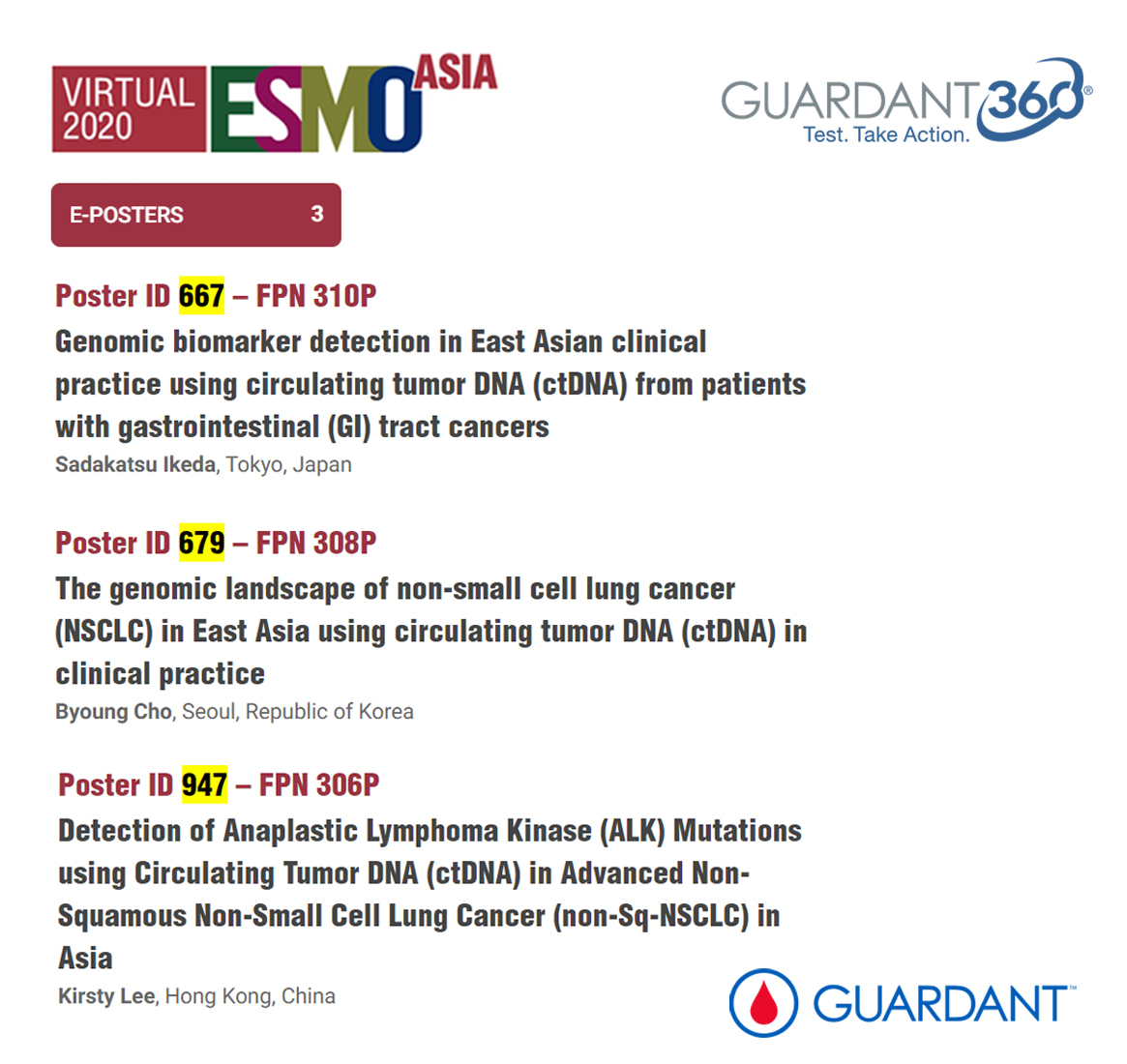 "Guardant360® Poster presentations now ""live"" at ESMO Asia Virtual Congress 2020"