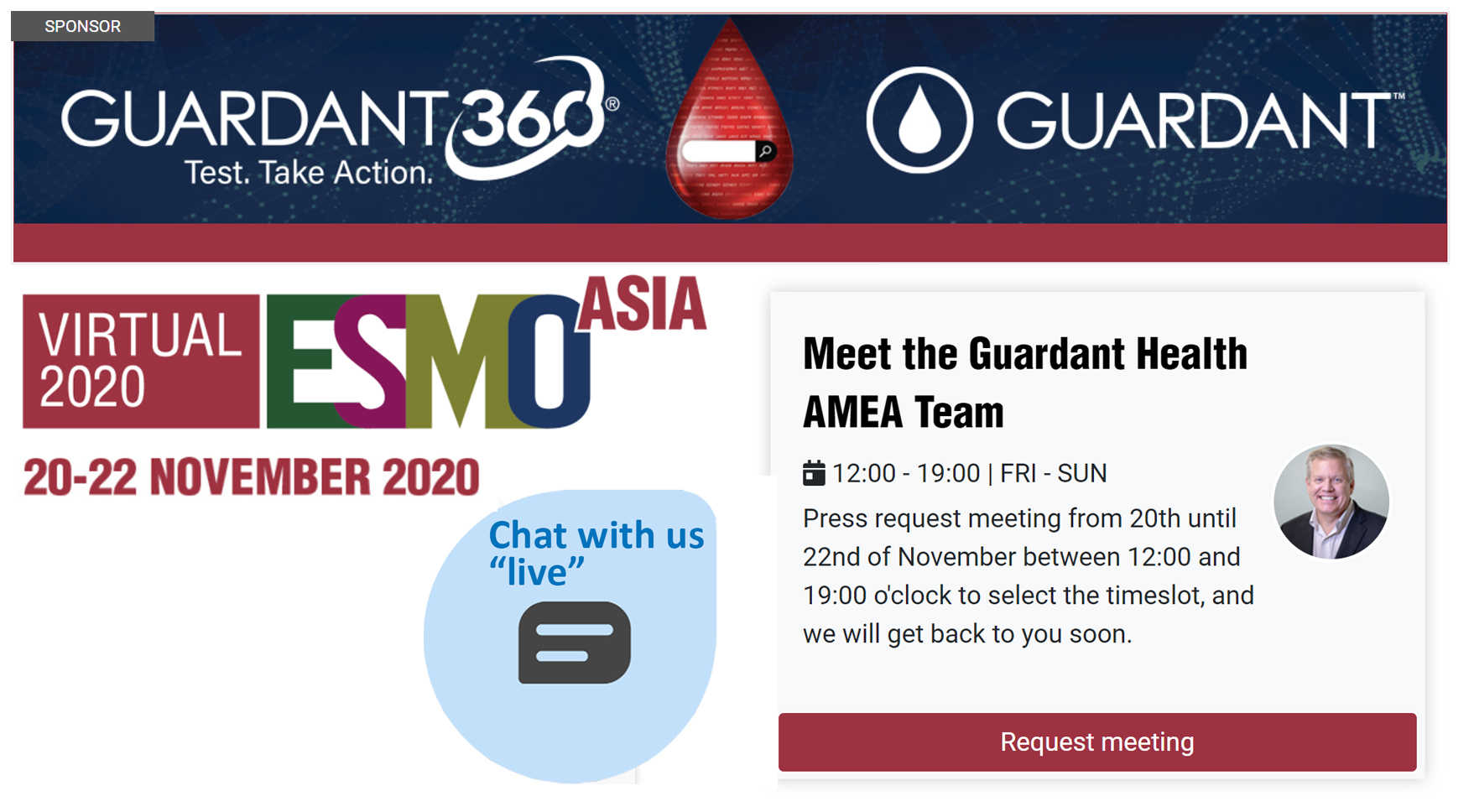 Meet the Guardant Health AMEA Team today at the ESMO Asia Virtual Booth and find out more about the Guardant360 test