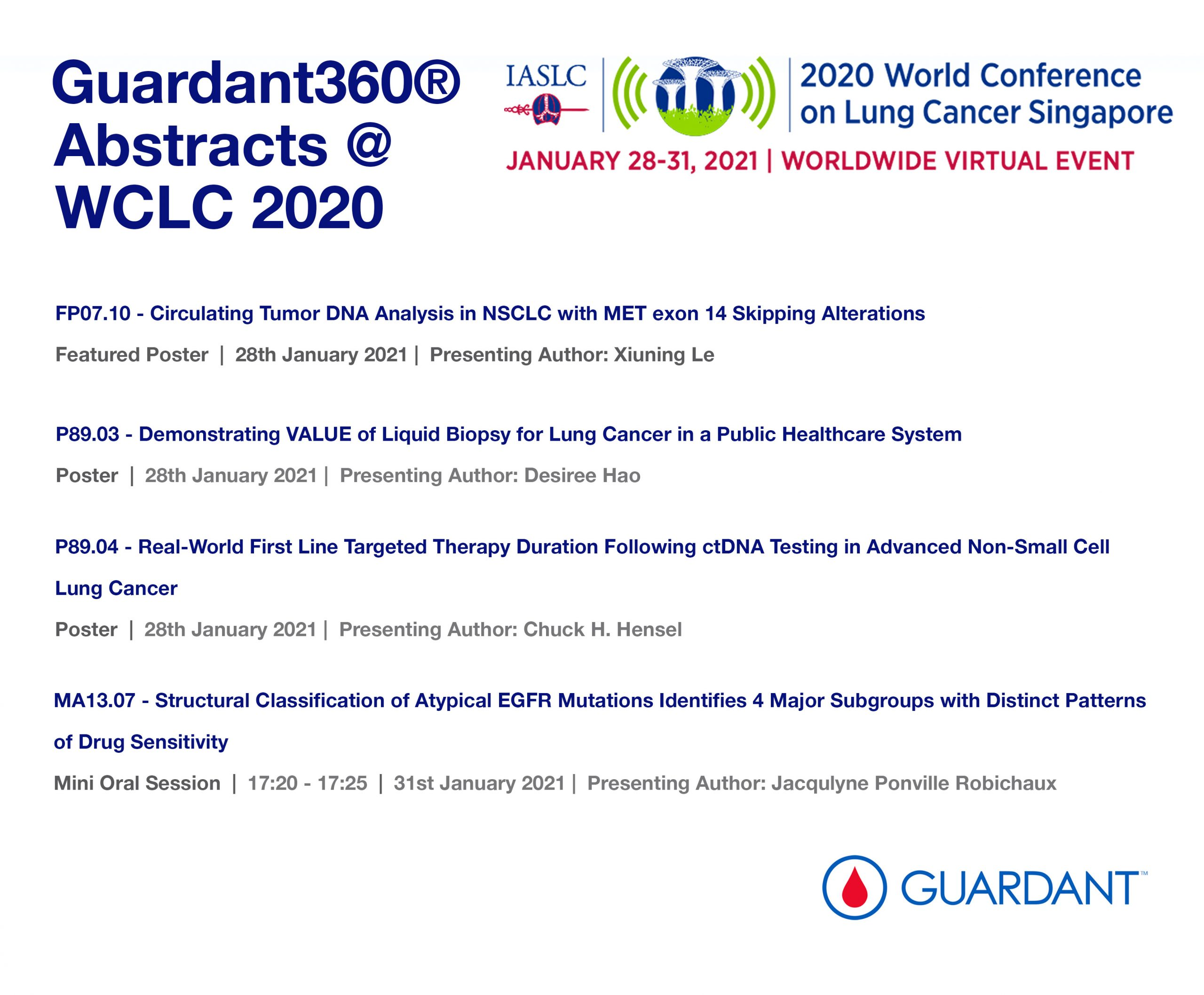 Guardant360® abstracts at the 2020 IASLC World Conference on Lung Cancer