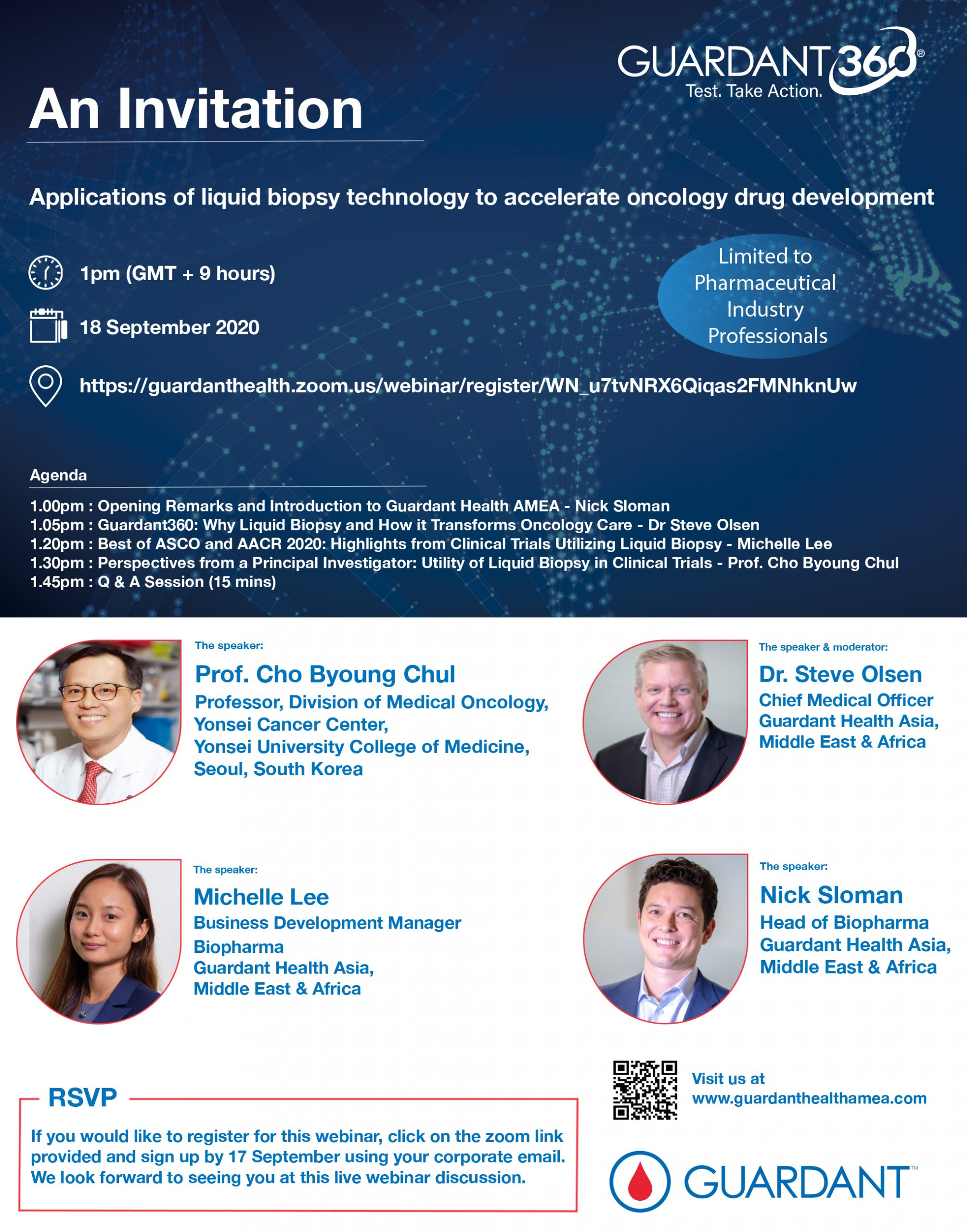 "Join us on 18 September at 1pm (GMT+9hrs) for a Webinar Discussion on ""Applications of liquid biopsy technology to accelerate oncology drug development"""