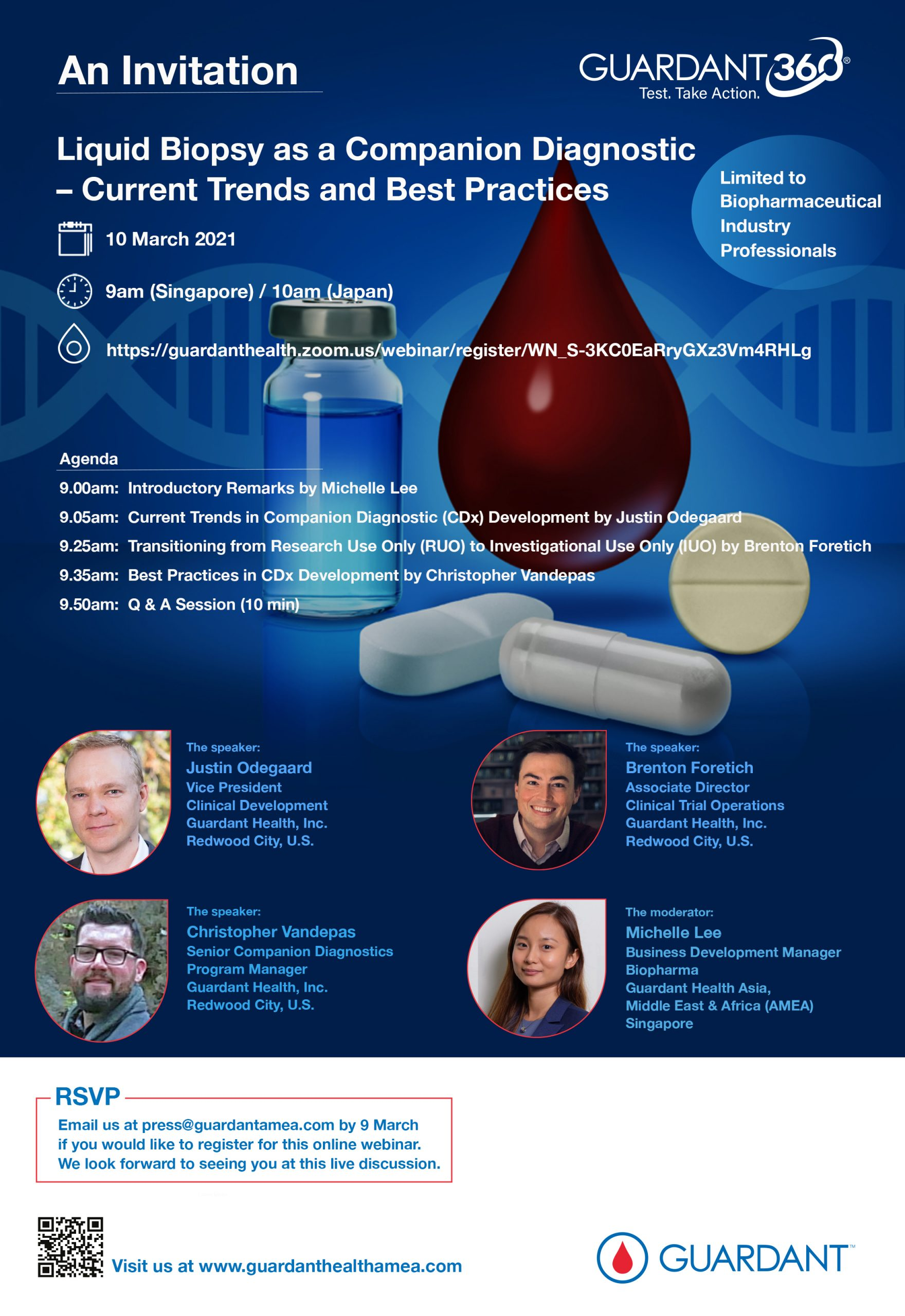"""Calling All Biopharmaceutical Industry Professionals! Join us on 10 March at 9am (GMT+8hrs) for a Webinar Discussion on """"Liquid Biopsy as a Companion Diagnostic – Current Trends and Best Practices""""."""